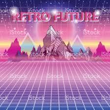 retro future 80s style scifi background wave music album cover