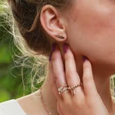 feather stud earrings chlobo gold plated cuff feather stud earrings rest729