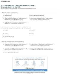 quiz u0026 worksheet map of physical u0026 human characteristics of the
