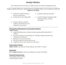 Sample Resume Objectives For Teachers by Example English Teacher Resume Cv Style Professional Resume