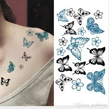 colored butterfly design tatoo waterproof