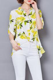 print blouses lushijiao white chiffon lemon print blouse blouses at dezzal