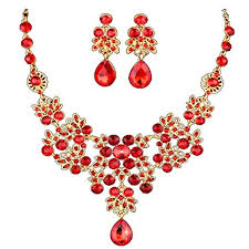red necklace earring set images Dxhycc silver red alloy rhinestone earrings crystal jpg