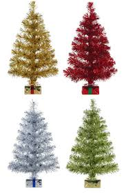 assorted tinsel trees