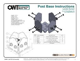 Pergola Post Base by Ozco Product Installation Instructions By Ozco Building Products