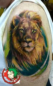 animal lion head tattoo on biceps in 2017 real photo pictures