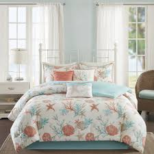 Aqua And White Comforter Bedroom Interesting Decorative Bedding With Comfortable Coral