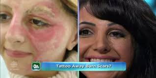 how to colour in a scar in your hairline woman tattoos her own face to cover scars starts business to help