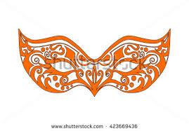 orange mardi gras orange cat mask raster version stock illustration 250483888