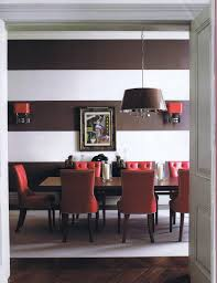 Red Dining Room Table by Grandiose Black White Striped Wallpaper Ideas In Modern Interior