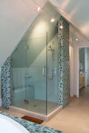 best 25 attic shower ideas on pinterest attic bathroom master bedroom modern attic bathroom idea with shower stall using glass door and mosaic ceramic wall tiles complete with chic ceiling lights and brown wooden mat