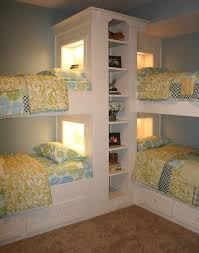 Beds With Bookshelves Triple Bunk Bed Kids Traditional With Built In Beds Bookcase