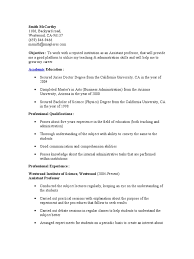 resumes objectives for students assistant professor resume academic degree professor