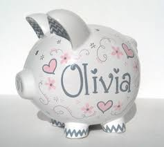 personalized silver piggy bank baby pink and gray hearts personalized piggy bank