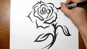 how to draw a tribal rose tattoo design with a stem youtube