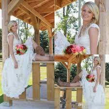 discount vintage tea length country wedding dresses 2017 modest