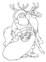 giving toys with reindeer coloring pages santa christmas