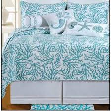 Tropical Bedspreads And Coverlets Amazon Com Full Queen Quilt Cora Blue Tropical Beach Coral