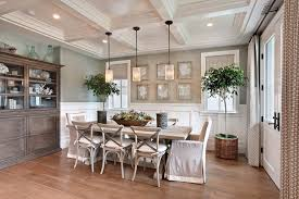 Dining Room With Wainscoting Faux Magnolia Centerpiece For Beach Style Dining Room With