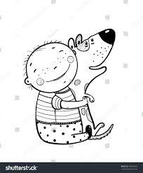 little boy hugs dog best happy stock vector 455840329 shutterstock