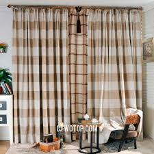 casual plaid classic gingham beige and brown curtains