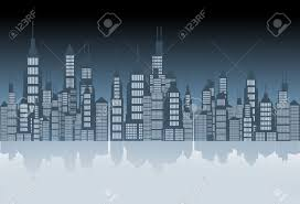 theme mirror city skyline mirror abstract illustration blue tones theme