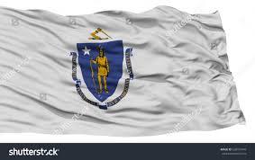 Mass State Flag Isolated Massachusetts Flag Usa State Waving Stock Illustration