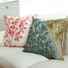 oversized pillows for bed oversized pillows blue leaves embroidered pillows for couch