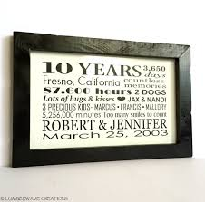 10 year anniversary gifts for husband 10 year anniversary gift personalized anniversary gift for him