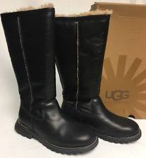 s ugg black leather ugg australia leather pull on slim heel boots for ebay