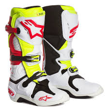 motocross boots size 10 alpinestars mx boots tech 10 white red fluo yellow vented 2018