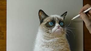 Cat Pic Meme - 3d drawing grumpy cat meme portrait youtube