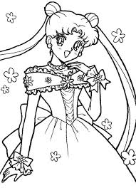 sailor moon usagi tsukino wedding dress coloring sailor