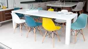 White Dining Table And Coloured Chairs Fern White Gloss Extending And Eames Style Dining Set