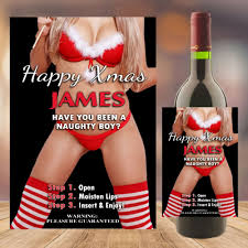 personalised happy christmas joke novelty wine bottle label n103