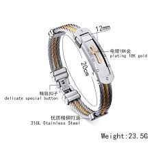 metal rope bracelet images Mens stainless steel cross id bracelet bangle two tone jpg
