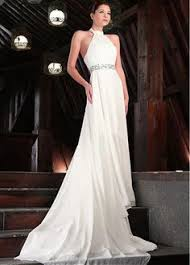 high neck halter wedding dress front view of style 50085 10 7 17