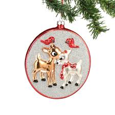 red nosed reindeer clarice rudolph glass christmas ornament