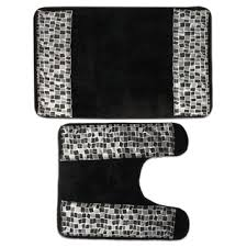 Silver Bathroom Rugs Classic Black And Silver Tile Patchwork Shower Curtain And Hooks