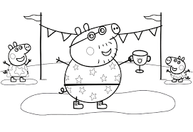 cartoon printable peppa pig friends coloring pages