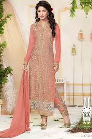 Light Orange Color by Dshopo Light Orange Color Embroidered Salwar Suit