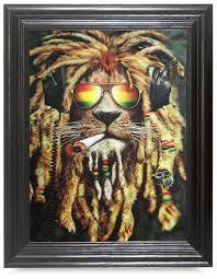 amazon com rasta lion 3d framed holographic wall art lenticular