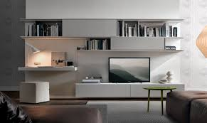cool black finish living room tv wall unit come with beige cabinet