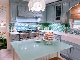 Glass Backsplash For Kitchens by L Shape Colorful Kitchen Decoration Using Green Subway Tile