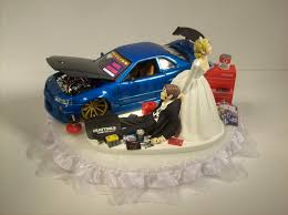 mechanic wedding cake topper auto mechanic and groom 2002 nissan skyline gtr r34 blue car