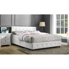 Upholstered Faux Leather Full Bed In White - White faux leather bedroom furniture