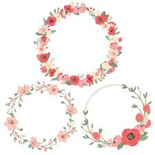 flower wreath mint coral pretty floral wreath clipart vectors