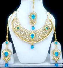 turquoise necklace set images Turquoise kundan bollywood gold tone indian necklace set bridal jpg
