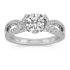 infinity engagement rings infinity cathedral diamond engagement ring with side milgrain