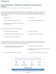 Stranger Danger Worksheets Quiz U0026 Worksheet Defenses To Intentional Torts To Avoid